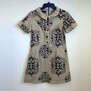 Nooworks khaki black tribal print dress small